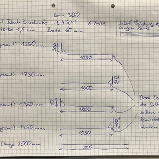 Versandmetall - Set ( 6 teil ) Edelstahlteile 1,5mm nach Skizze 4x L-Profil   2x Zuschnitt  gemäß Kundenskizze