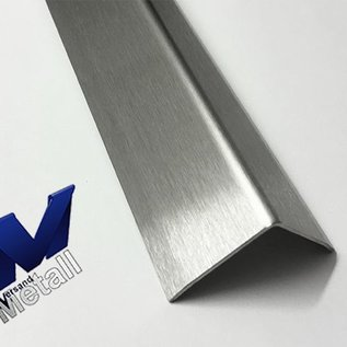 Versandmetall - 1 Stck Edelstahlwinkel 1,0mm 125° gwkantet,Aussen K320 3-fach gekantet axb 100x150mm Länge 2000mm