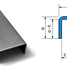 Versandmetall Set ( 4 Stck ) U-Profil ungleichschenkelig aus 1,0 mm Edelstahl , Oberfläche Schliff K320 Aussenmaße  axcxb25x54x60mm, (innen 52mm) Länge 1250mm