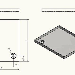 Versandmetall Receveur de douche en acier inoxydable, receveur de douche {R1A} 1,5 mm, coupe intérieure K320, profondeur 700 mm, largeur 750 mm, 1 ou 2 trous d'évacuation, hauteur 50 mm