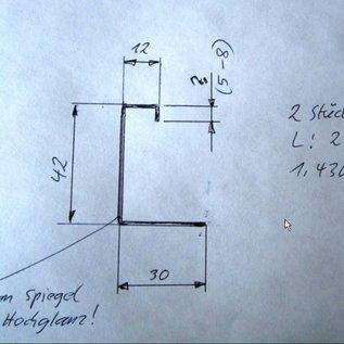 Versandmetall SondeSet ( 2 Stck ) Sonder  Edelstahlprofil aussen spiegelnd 2R (IIID)  90°  - 30/42/12/8 mm L=2500mm. t= 1,0mm r  Edelstahlprofil aussen Schliff K320  mm 90°  - 15/22/130/80 mm L=2000mm - Copy