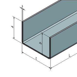 Versandmetall Set [30 pcs] profilé en U en aluminium 2.0mm 90 ° dimensions intérieures axcxb 40x40x40mm longueur 2000mm, ébauche Al99.5, un côté avec film de protection