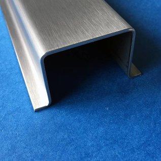 Versandmetall Set [2-delig] hoedprofiel van roestvrij staal 4-voudig gekanteld materiaaldikte 1,5 mm axcb 20 x 30 x 20 mm lengte 2500 mm buitensnede K320 volgens schets