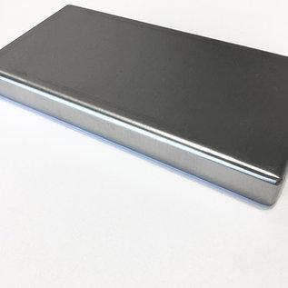 Versandmetall RVS kuip rij 1 hoeken gelast 1.5mm h = 165mm axb 680x1140mm BUITEN slijpen K320