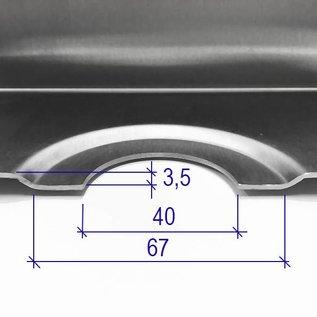 Versandmetall RVS douchebak, douchebak {R3A} 1,5 mm, BINNEN grondvoeg K320, diepte 700 mm, breedte 1000 mm, 1 afvoergat, hoogte 60 mm, omlopende rand 20 mm