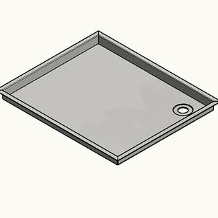 Versandmetall RVS douchebak, douchebak 1,5 mm omlopende rand 20 mm, BINNEN slijpen K320, diepte 500 mm, breedte 600 mm, 1 afvoeropening, hoogte 40 mm buitenmaat plus omtrek 20 mm