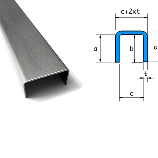 Versandmetall  Sonder U-Profil aus 1,0mm Edelstahl gekantet Oberfläche Schliff K320 Innenmaße axcxb 40x115x40mm, Länge: 2000mm