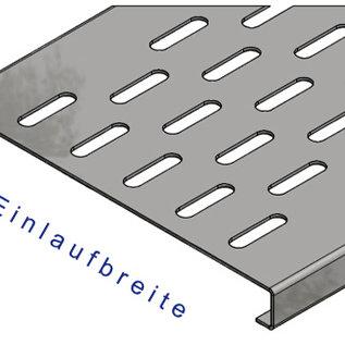 """Versandmetall -Set afvoergoot """"B"""", kanaal (een geperforeerd) gemaakt van 1 mm, inlaatrooster 1,5 mm roestvrij staal: met bijpassende afdekplaten, 6 eindstukken, 10 verstevigingen voor 190 mm: 1 stuk 176,5 cm eb 90 mm, 1 stuk 104,5 cm eb 190 mm, 1 stuk Stuks 106,5 cm eb"""