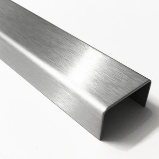 Versandmetall Profilé en U spécial en acier inoxydable de 1,5 mm finition de surface biseautée K320 dimensions intérieures axcxb 20x130x20 mm, longueur: 2500 mm