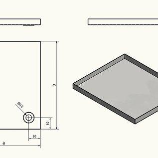 Versandmetall Edelstahl Duschwanne, Duschtasse { R1A } 1,5mm, INNEN  Schliff K320, Tiefe  600 mm, Breite 850 mm, 1 oder 2 Ablaufbohrungen,  Höhe 70mm