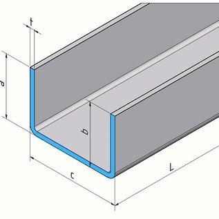 Versandmetall [4A] U-profiel van roestvrij staal, tweesnijdend, materiaaldikte 1,0 mm axcxb 10 x 20x15 mm, lengte 200 mm, uitwendig geslepen K320