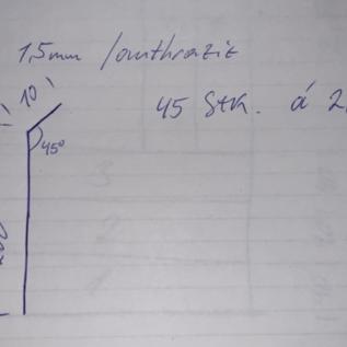Versandmetall Set (  45 St ) Aluminiumprofile nach Skizze einseitig anthrazit ungleichschenkelig 90°  gekantet, 1,5mm dick, Maße gemäß Skizze