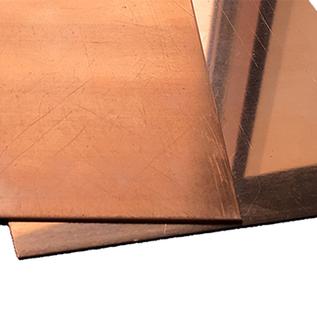 Plaques en cuivre avec feuille de protection unilatérale jusqu'à 1000 mm de longueur