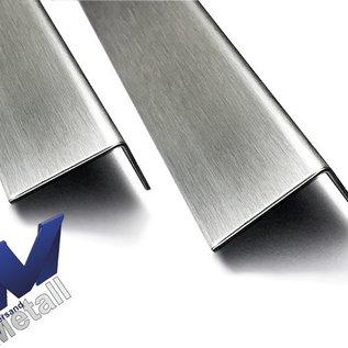 Versandmetall Set [ 250 Stk ] 90° Edelstahlwinkel Aussen Schliff K320 axb 20x20x1,5mm, L= 2350