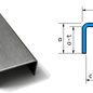 Versandmetall Sonder U-Profil aus 1,0 mm Edelstahl , Oberfläche Schliff K320 Aussenmaße 1 Stück axcxb 20x150x20mm, 1200mm (120cm) lang