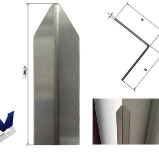 Versandmetall Set [75 St] Hoekbeschermingshoek modern met punt 1-voudige rand, gemaakt van 1,0 mm roestvrij staal, 30x30x1800 mm, eenzijdig oppervlak met slijpkorrel 320.