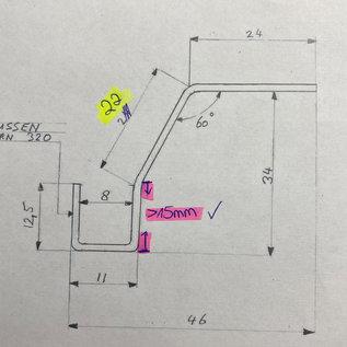 Versandmetall -Speciaal - U-profiel gemaakt van 1,5 mm roestvrij staal 12,5 / 11/15/22 / 24 mm, lengte 2500 mm, oppervlakteafwerking K320 U-profiel met randen