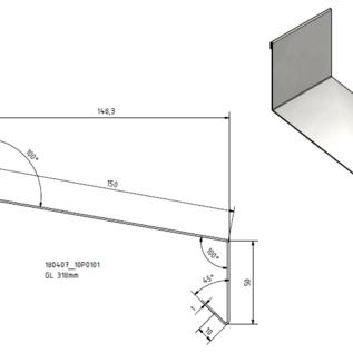 Versandmetall Grote dakrandplaat RVS 1.4301 buiten K320 100/150/50, 1,0 mm, lengtes 1000, 1250, 1500, 2000, 2500 mm