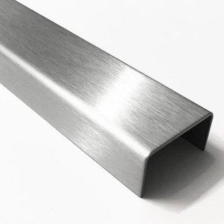 Versandmetall 200m [ 80x2,5m] U-Profil aus 2mm Edelstahl (V4A/316L) Innenmaße axcxb 22x20x22mm, Oberfläche Schliff K320 2500mm lang U-Profil aus Edelstahl 2-fach gekantet, Oberfläche einseitig mit Schliff Korn 320