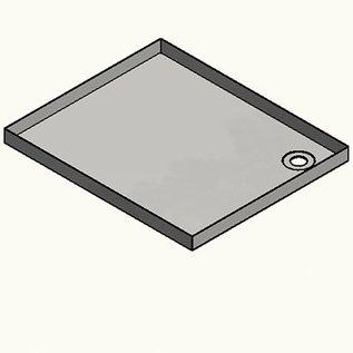 Versandmetall RVS douchebak, douchebak {R1A} 1,5 mm, BINNEN grondvoeg K320, diepte 600 mm, breedte 900 mm, 1 of 2 afvoergaten, hoogte 60 mm