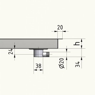 Versandmetall Edelstahl Waschbecken, Camperausbau { R3B } 1,5mm  umlaufender Rand 20mm, INNEN  Schliff K320, Breite  250mm, inkl. Rand 287 mm, Länge 350mm,  inkl Rand 387 mm, Tiefe 145mm
