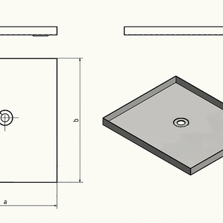 Versandmetall -Edelstahl Duschwanne, Duschtasse { R1A } 1,5mm, INNEN  Schliff K320, Tiefe 600 mm, Breite  800 mm, 1 oder 2 Ablaufbohrungen, Höhe 60mm