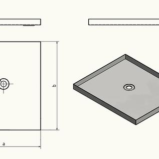 Versandmetall - Receveur de douche en acier inoxydable, receveur de douche {R1A} 1,5 mm, coupe INTÉRIEURE K320, profondeur 600 mm, largeur 800 mm, 1 ou 2 trous de vidange, hauteur 60 mm