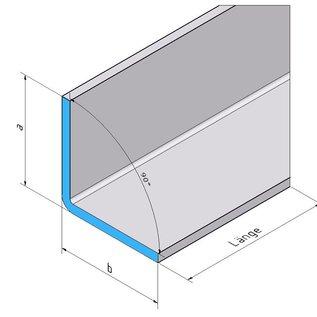 Versandmetall -Set (36 stuks) 90 ° RVS hoek gemaakt van 1,0mm, externe geslepen voeg K320 28 stuks asb 25x60mm, lengte = 600mm 8 stuks, en axb25x60mm lengte = 550mm