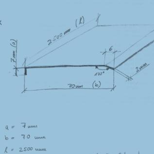 Versandmetall -Speciale randbeschermingshoek 90 ° - 2-voudig geslepen 2,0 mm buiten K320 axbxL 9x70x2500mm (a-maat ca. 9-9,5 mm)