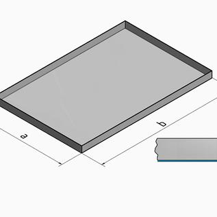 Versandmetall -Sonder Edelstahlwanne R1   aussen geschweißt 1,5 mm h=100mm  axb 300x1000mm einseitig ( AUSSEN ) Schliff K320