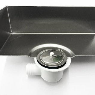 Versandmetall Edelstahl Duschwanne, Duschtasse { R1A } 1,5mm, INNEN  Schliff K320, Tiefe  600 mm, Breite 900 mm, 1 oder 2 Ablaufbohrungen,  Höhe 40mm