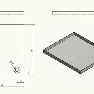 Versandmetall Edelstahlwanne Reihe 1 Ecken dicht geschweißt und gebeizt, Edelstahl 1,5mm h=180mm axb 550x500mm AUSSEN  Schliff K320