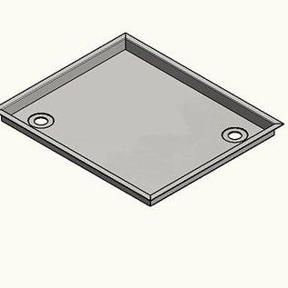 Versandmetall Roestvrijstalen douchebak, douchebak {R3A} 1,5 mm omlopende rand 20 mm, BINNENKANT K320, diepte 670 mm, breedte 670 mm, 1 afvoeropening, 30 mm hoogte