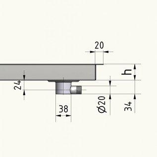 Versandmetall Edelstahl Duschwanne, Duschtasse { R3A } 1,5mm  umlaufender Rand 20mm, INNEN  Schliff K320, Tiefe 670 mm, Breite   670 mm, 1 Ablaufbohrungen, 30 mm Höhe