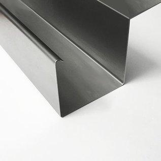 Versandmetall -30mtr ( 15x2mtr) Regenrinne P2  axcxb 20/ 50 /30 /50 , L= 2000mm aus 1,5mm Edelstahl außen Schliff K320