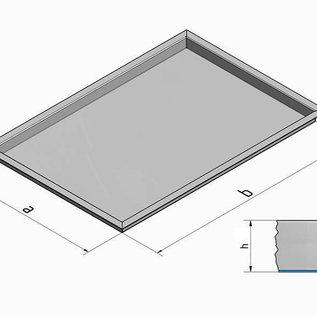 Versandmetall - Sonder Edelstahlwanne R3   I N N E N  geschweißt 1,5 mm h=80mm axb 690x430mm plus  umlaufender Rand 30mm  ( 727x467mm ) -INNEN  Schliff K320 ( aussen können fertigungsbedingt Kratzer vorhanden sein