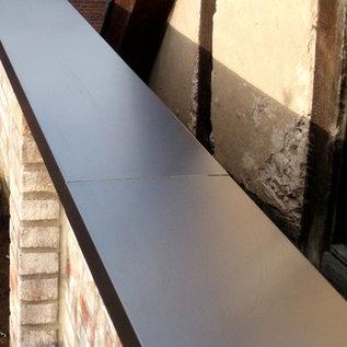 Versandmetall Wandbekledingsset van aluminium, antraciet. 2x2200mm, 1x1500mm, 2x2000mm breedte 410mm poten 30mm