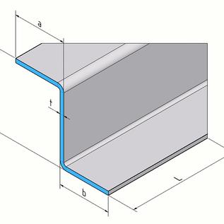 Versandmetall Profil en Z spécial 1,0 mm en acier inoxydable rectifié K320 hauteur 150 mm a 70 mm b 50 mm L2000 mm
