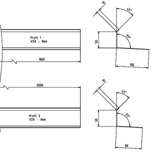Versandmetall -Set (2 stuks) speciaal profiel van 1,0 mm RVS, geslepen oppervlak K320 10/50/100 mm, lengtes elk 1x 1800, 2000mm