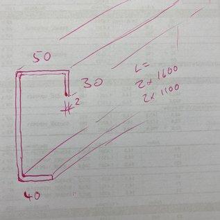 Versandmetall -Set (4 parties) spécial C-profil 2.0mm inox recto recto sol K320 hauteur c = 250 mm a 40mm b 50mm d30mm 2xL = 1100mm, 2xL = 1600mm fabriqué selon le croquis