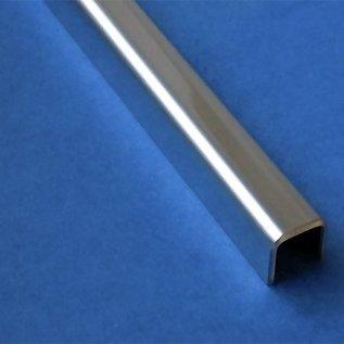Versandmetall Glasprofiel Glas frameprofiel, U-Profiel, gemaakt van roestvrij Staal, lengtes tot 2000 mm vor Glasdickte van 8 mm tot 12,52 mm