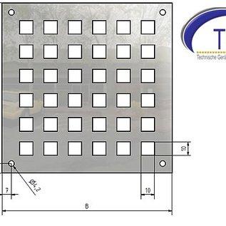 Ventilatierooster gemaakt van roestvrij staal vierkante gat 10x10mm, Dickte 1,5 mm