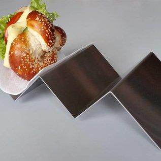 Versandmetall dubbel hot dog golf snack tray gemaakt van roestvrij Staal geschuurd(grid320)