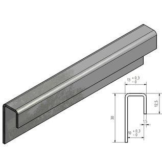 Versandmetall Glasrandprofiel geschuurd korrel 320  1,5 mm roestvrij Staal voor 10 mm Glas, onglijk gezet