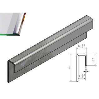 Versandmetall Profilé en verre poli 1,5mm en acier inoxydable pour verre de 8mm