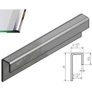 Versandmetall Profilé de chant en verre brillant 1,5mm en acier inoxydable pour verre dissemblable de 10mm