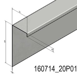 Versandmetall Edelstahl-U-Profil 1,0mm aussen Schliff Korn 320