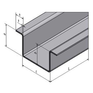 Versandmetall Hut-Profil aus Edelstahl gebürstet K320 , Höhe 20mm Breite c= 30 bis 80mm Länge 1250 mm