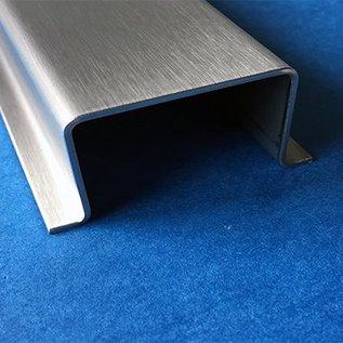 Versandmetall Hut-Profil aus Edelstahl gebürstet, Höhe 20mm Breite c= 30 bis 80mm Länge 2000 mm