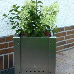 Versandmetall bloemenpot plantenbak 38-58cm roestvrij Staal vierkant